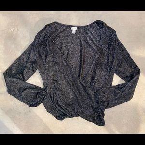 A New Day Black Sparkly Long Sleeve Blouse